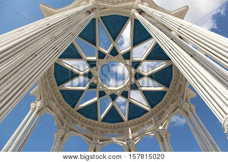 Moscow, Russia May 25, 2016 Ornament of the roof of the pavilion