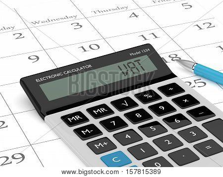 3D Rendering Of Calculator Wit Vat Text And Calendar