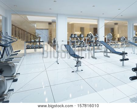 Modern Interior Fitness Gym In The Spa Complex.