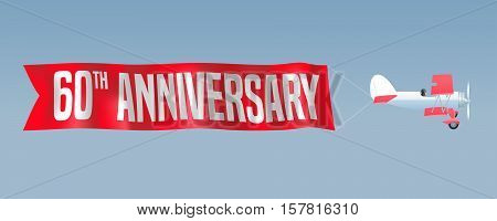 60 years anniversary vector illustration banner flyer icon symbol sign. Design element with airplane and wavy ribbon for 60th anniversary birthday card