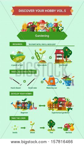 Gardening - info poster, brochure cover template layout with flat design icons, other infographic elements and information text