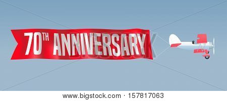 70 years anniversary vector illustration banner flyer icon symbol sign. Design element with airplane and wavy ribbon for 70th anniversary birthday card