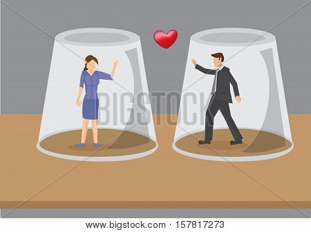 Cartoon man and woman in love but each is trapped in own invisible protective glass wall. Creative vector illustration of concept on obstacles for lovers.