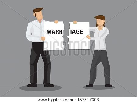 Couple holding a torn sign with text Marriage. Creative vector illustration on broken marriage concept isolated on grey background.