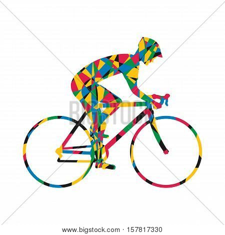 Cyclist silhouette colorful icon man on racing bike. Isolated icon sports bike races. Vector illustration. Speed racing bike.