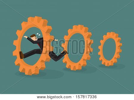 Professional businessman running through cog gears. Cartoon vector illustration on business metaphor isolated on plain background.