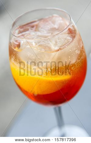 Aperol Spritz Cocktail on the terrace .
