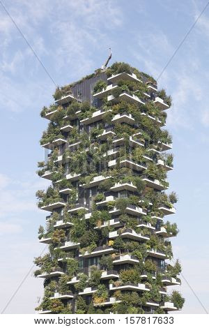 Milan, Italy - September 16, 2016: Vertical forest building called Bosco verticale in Italian, Milan, Italy