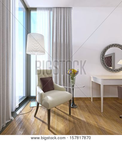 Modern Comfortable Chair With A Table And Lamp.