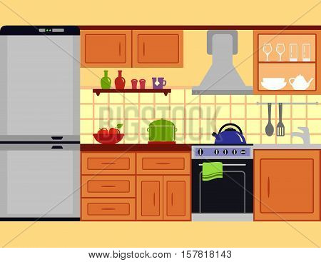 kitchen room with furniture set. family cuisine interior on flat style.