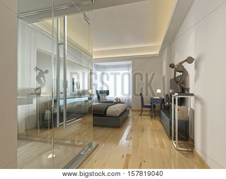 A Luxury Hotel Room In A Contemporary Design With Glass Bathroom.