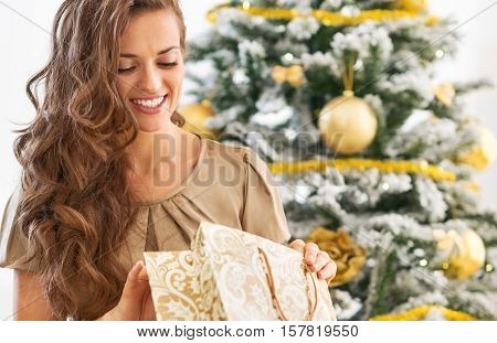 Happy Young Woman Looking Into Shopping Bag Near Christmas Tree