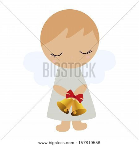Colored icon baby boy angel with bells in hand on a white background. Christmas vector illustration. Pattern to decorate or design scrapbook. Baby shower