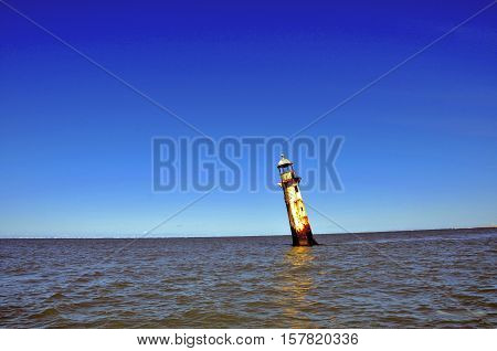 Lighthouse located at the mouth of the São Francisco river, between the states of Sergipe and Alagoas, northeastern Brazil.