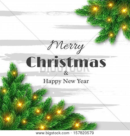 Merry Christmas and happy new year greeting card fur-tree decoration with glowing lights. Vector illustration.