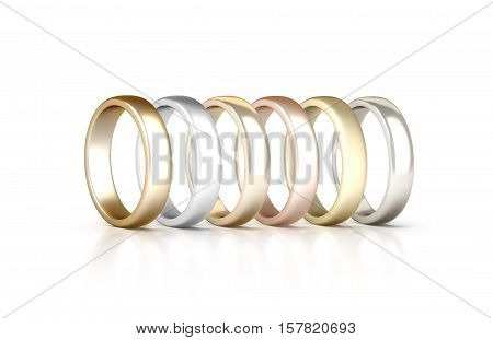 Different precious metals rings set stand isolated golden silver pink 3d rendering