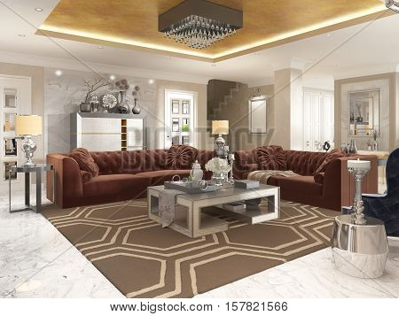 Living Room In Art Deco Style With Upholstered Designer Furniture.