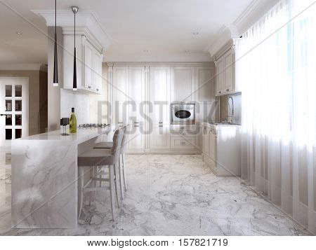 Luxury Kitchen With Opaline Furniture In Art Deco Style.