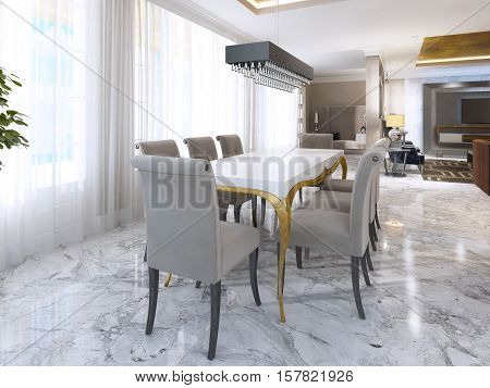 Large Dining Table For Eight In The Style Of Art Deco.