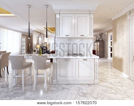 Bar Counter With Bar Chairs In Luxurious Kitchen.