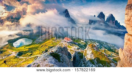 Foggy Morning Scene In The Alps