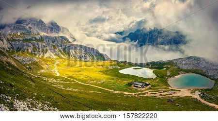Foggy Morning Scene In The National Park Tre Cime Di Lavaredo