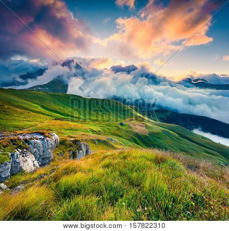 Few Seconds Before Sunrise In The Foggy Val Di Fassa Valley