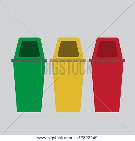 Set of recycle garbage bins, bins for different kind of waste