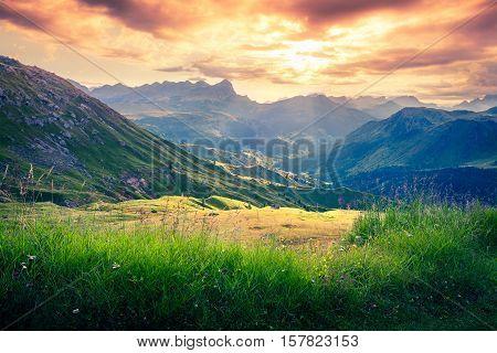 Dramatic Sunrise In The Dolomite Alps.