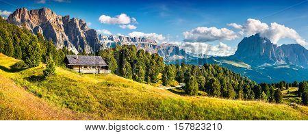 Summer Scene With Pizes De Cir Mountain Range.