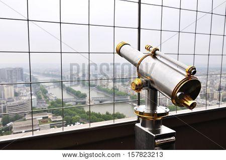 Telescope on the Tour Eiffel in Paris 2013