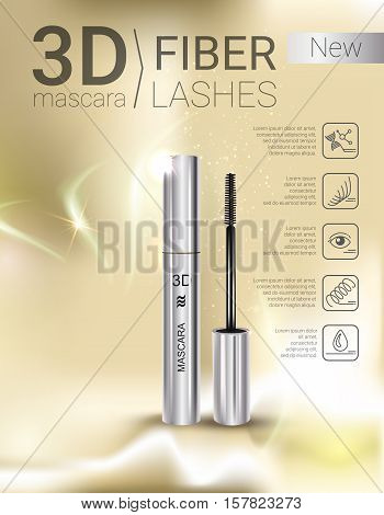 3d mascara ads. Vector Illustration with mascara brush and its container.