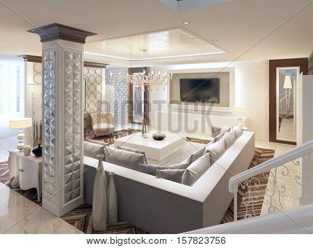 Luxury Art Deco Design Bright Living Room With Large Corner Sofa.