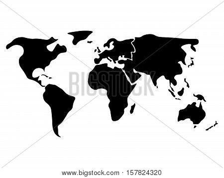 World map divided to six continents in black - North America, South America, Africa, Europe, Asia and Australia Oceania. Simplified silhouette blank vector map without labels.