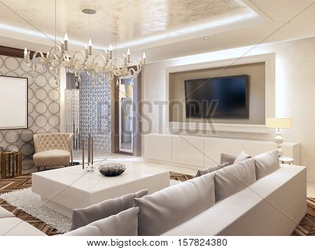 Modern Living Room In White Colors With Integrated Storage For The Tv.