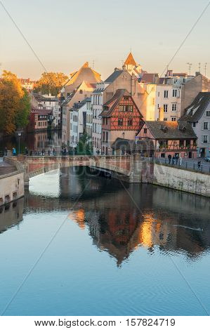view of Petit France medieval district of Strasbourg, Alsace France