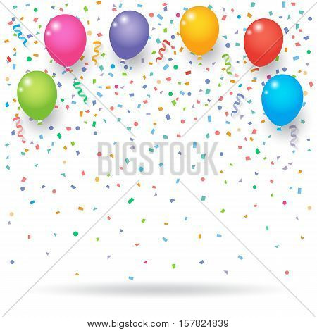 Colorful explode confetti with balloons and ribbons on white background. Confetti for birthday carnival celebration anniversary and holiday party background.