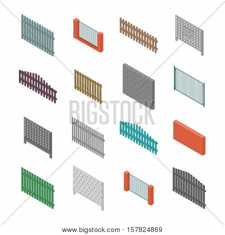 A set of isometric spans fences of various materials. Wood concrete steel bricks and cinder blocks. Isolated on white background. Elements of buildings and landscape design vector illustration.