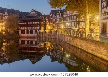 Petit France medieval district of Strasbourg at night, Alsace France