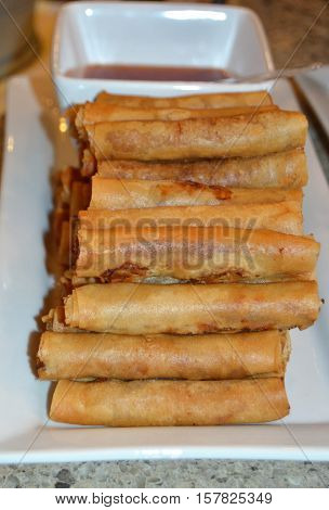 vertical lumpia egg rolls Filipino food snack Philippines