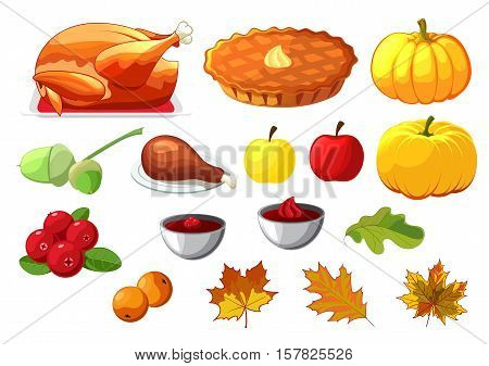 Set of element for Happy Thanksgiving Day on white background. Badge, icon, template apple, cranberries, pumpkin pie, leaf, turkey, sous, rowan berry