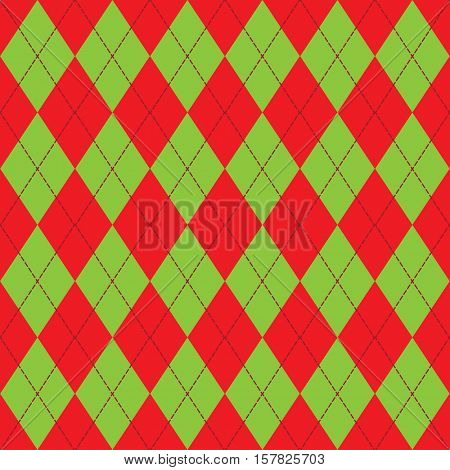 Vector seamless knitting pattern in red and green with rhombus.