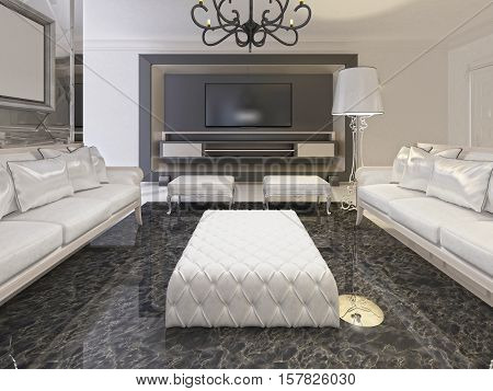 White Luxury Living Room Interior And Black Storage Tv In A Decorative Frame.