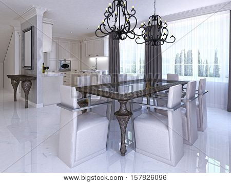 Luxurious Dining Room With Dining Table And Designer Chairs.