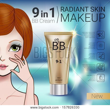 B.B. cream ads. Vector Illustration with Manga style girl and makeup foundation tube.