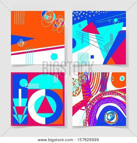 set of 4 posters with abstract trendy pattern background to wedding, birthday, printable wall art, greeting card, web design and other, hand draw vector illustration in bright colors