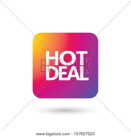 Hot Deal inscription, colorful icon on white background. Vector illustration.
