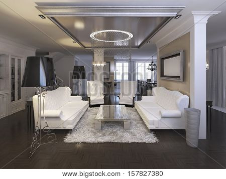 Luxurious Living Room Design With White Chairs And Sofa.