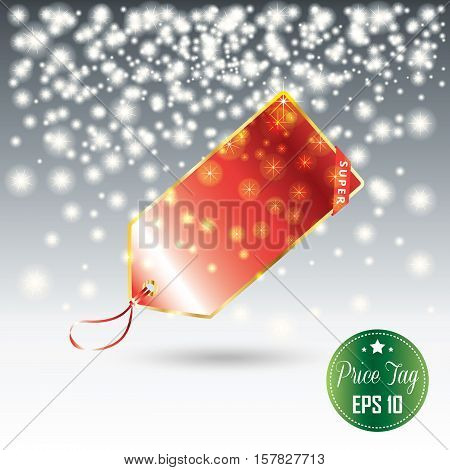 Price tag and falling white snowflakes, abstract background. Christmas Holiday Sale discount background with red price tag. Vector illustration. Holiday Sale advertising design.