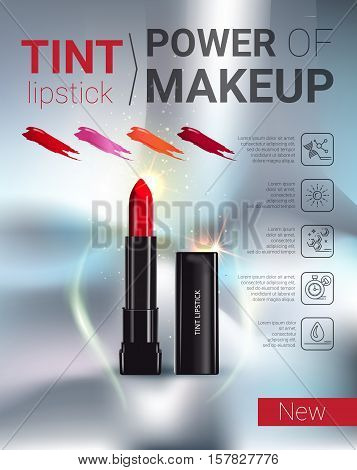 Tint lipstick ads. Vector Illustration with makeup lipstick product.